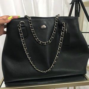 Genuine leather black coach bag silver straps